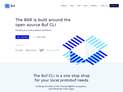 Buf CLI – Product Page clean high-tech minimal engeneers developers api protocol buffers protobuf buf web design product landing page website design website webdesign devs web lp ux ui