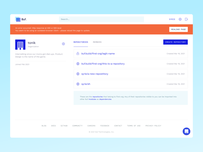 The Buf Schema Registry – Product registry application interface web app app panel dashboard web ux ui product buf protobuf protocol buffers api developers engeneers minimal high-tech clean