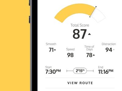 Trip View statistics trip car numbers graph stats route app ios interface ux ui