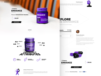 Enhance - Product Page website supplement landing page product interface nutrition enhance design web ux ui