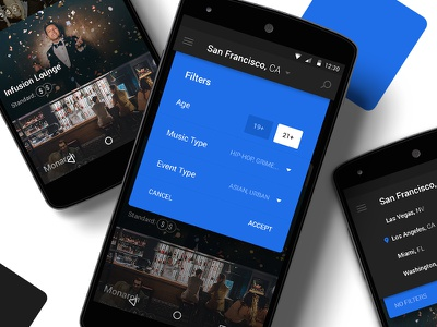 Browse & Filter material design event club search filter list browse android app ux ui
