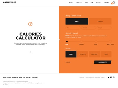 Calories Calculator app webdesign sport fitness calories calculator number interaction web animation ux ui