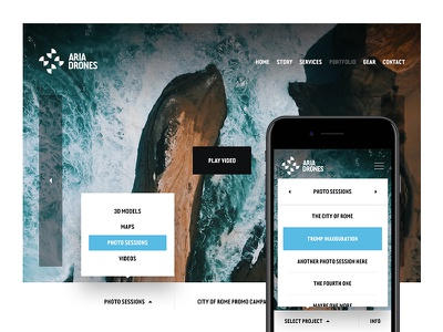 Aria Drones — Portfolio design app video photo interface responsive portfolio website web gallery ui