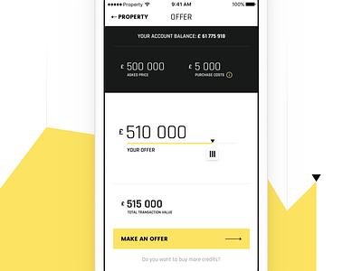 Pocket Emperor — Making an Offer slider simulator dashboard real estate properties game interface ios app ux ui
