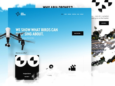 Aria Drones — Homepage website web ui uav homepage lp page landing interface interaction drones drone