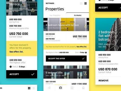 Pocket Emperor — Properties Portfolio game properties grid list real estate iphone iphone x app. ios interface ux ui