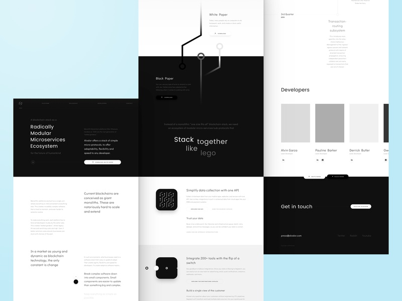☯️ Alvalor Landing Page mockup wireframe interface black and white block chain web lp website page landing ux ui