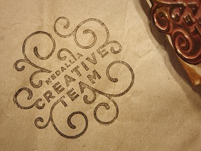 Creative Team Stamp crest team swirls stamp rubber