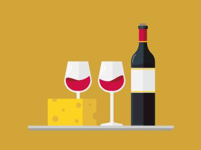 Wine & Cheese vector flat glasses bottle platter cheese wine