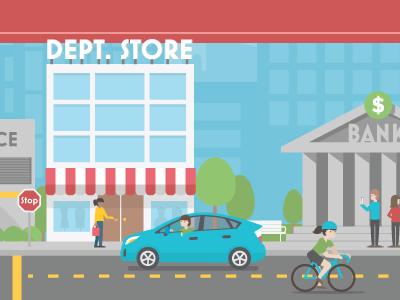 Downtown prius bike shopping store bank illustration