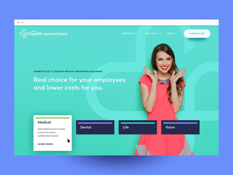 Homepage Concept contemporary choice color insurance health homepage ui ux