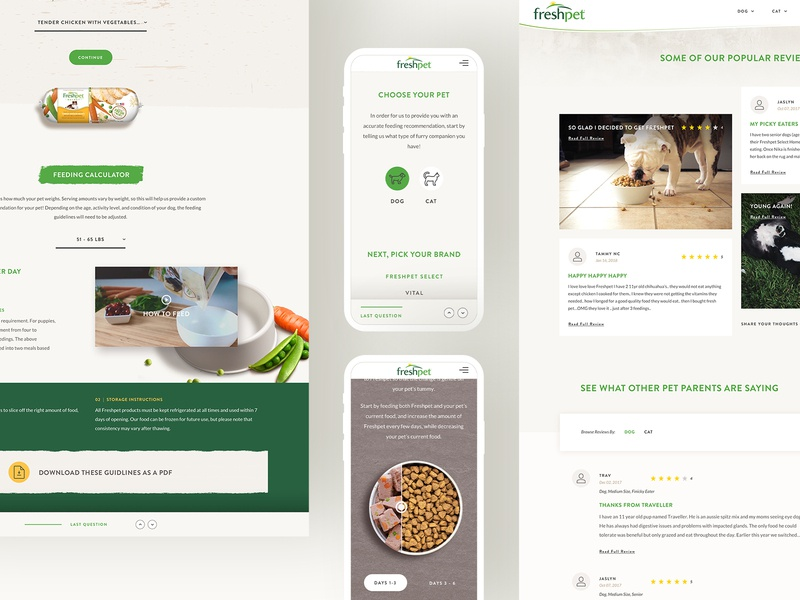 Feeding Guidelines texture fresh mobile selector pet food pets website