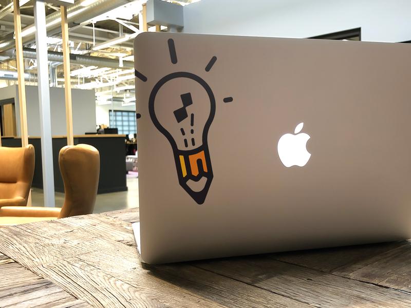 Logo Decal design logo icon logo challenge creativity pencil light bulb vinyl decal vector branding logo design