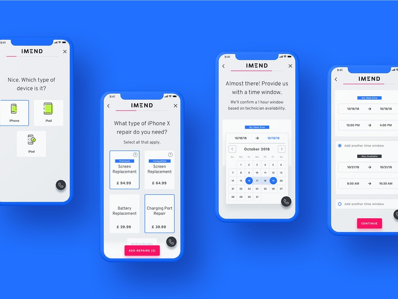 Repair Booking mobile first appointment calendar booking experience repair booking repair mobile ui ux