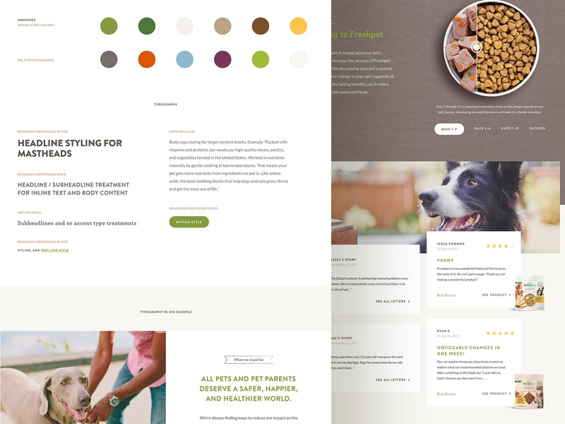Website Stylesheet website redesign typography ui ux design website food pet dog ui kit stylesheet
