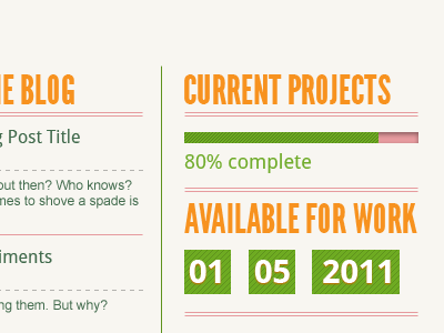 Some Home Page Elements type date progress