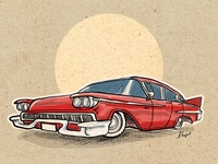 Old American Car Illustration