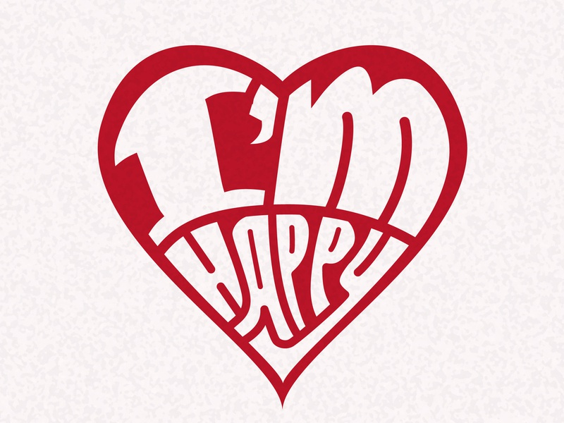 Lettering - Im Happy letter illustration draft promo logotype logo heart typography curve design graphic vector illustrator design art typogaphy lettering