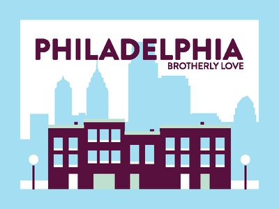Philadelphia Post Card design vector illustration buildings postcard pastel city geometric icon simple
