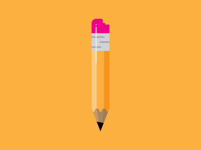 Pencil Icon illustration writing eraser bite school design flat vector icon pencil