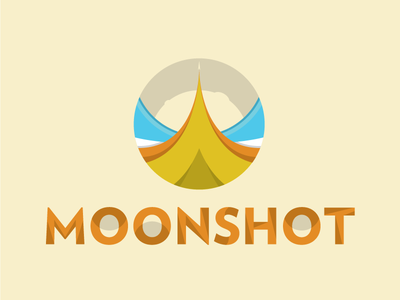Moonshot illustration rocket takeoff moonshot moon design vector icon