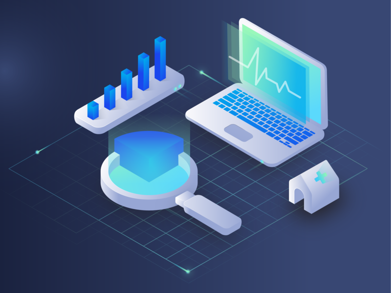 MVC Technology Website Illustration #1 research data analysis data medicine patient clinic tech medical illustrator cc isometric art isometric isometric design ui web branding design illustration