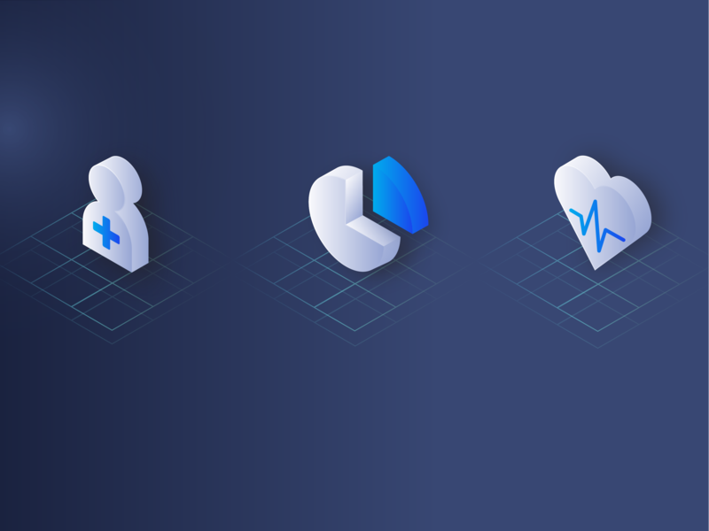 MVC Technology Website Icons data collection health care health data analysis data icon illustrator dark blue dark ui patient medicine medical isometric design isometric art isometric illustrator cc design clinic branding