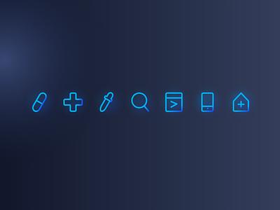 MVC Technology Website Minimal Icons clinics clinic icon set data collection data analysis data dark blue dark ui design ui pack doctor health health care medicine medical gradient minimal icon design icon artwork icon