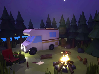 Camping in the Woods 3d animation app unreal 3d art outdoors nature forest van lowpoly 3d mobile animation google play android app store game art game design game ios