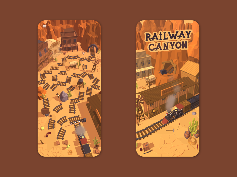 Railway Canyon - upcoming mobile game ux ui america usa game asset game art game design indie game google play iphone app store mobile ios game cowboy western rail railway train wild west
