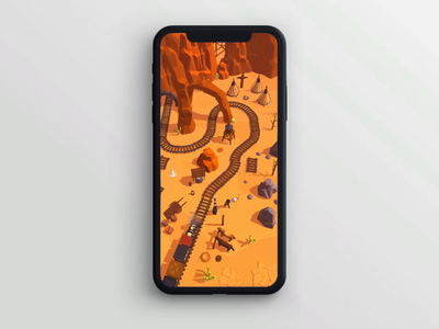 Railway Canyon - Level Opening steam train railway rail native america cowboy western wild west game asset iphone android google play mobile animation app store game art game design game ios