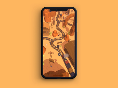 Railway Canyon Level Map puzzle wild west canyon railway rail map level gaming ux iphone ui android google play mobile animation app store game art game design game ios