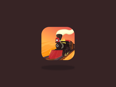 Railway Canyon - App Icon train western speed motion locomotive steam wild west railway logo branding game asset google play mobile app android app store game art game design game ios