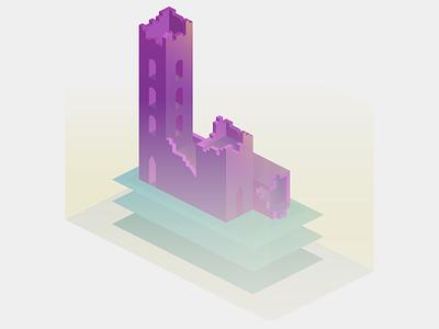 Gradient Isometric Castle chroma gradient game design level design game art ruin keep castle isometric