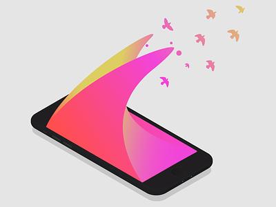 Gradient Isometric iPhone mockup mobile device fly birds chroma gradient webdev iphone isometric ux ui