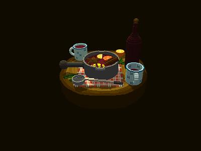 Mulled Wine christmas game asset game art pixel 3d voxel game design game cinnamon orange spoon mug wood table drink winter mulled wine