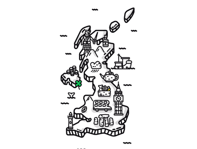 Great Britain Map - Cessabit line art mountains rain water island guide travel northern ireland scotland england uk map illustration google play game art app store game ios game design
