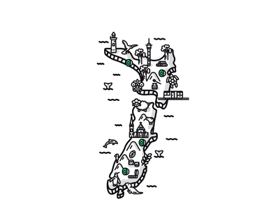 New Zealand Map - Cessabit kiwi animals app stroke black and white ui travel outline map new zealand mobile isometric google play illustration android app store game art game design game ios