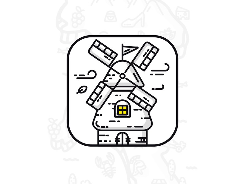 Cessabit App Icon puzzle game wind stroke outline game art game design branding logo illustration app design application android ios game google play app store ui windmill icon app