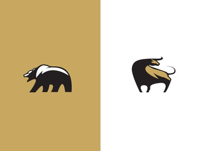 Bulls & Bears gold finance animal icon bull bear