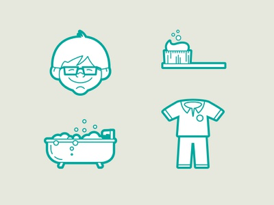 Bedtime icons bedtime glasses pants shirt bathtub tootbrush icons
