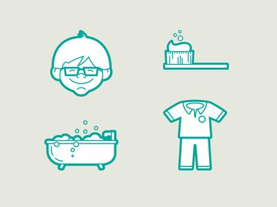 Bedtime icons bedtime glasses pants shirt bathtub tootbrush icons