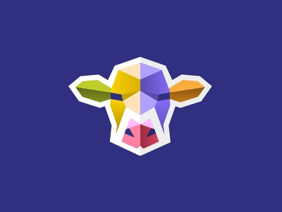Cow #1 m icon bull blue logo cow