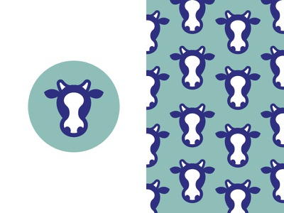 Cow #3 icon teal herd pattern logo cow