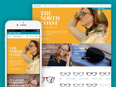 Zenni homepage flat color typography ecommerce eyewear eyeglasses ux ui