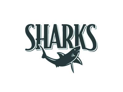 Sharks shark fish logo baseball flat graphic bodega custom type