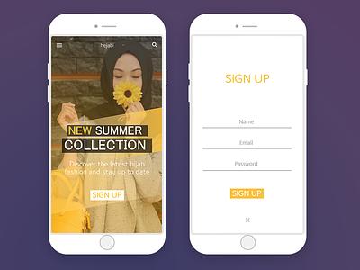 Daily UI #03 -  Hejabi screens ui ux mobile photoshop hejab islam login app fashion adobe xd