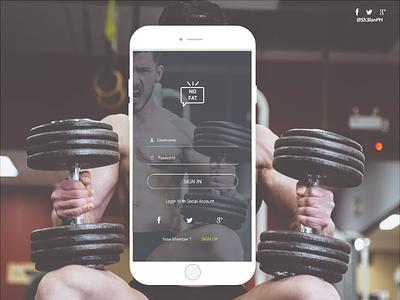 NoFat fitness app login screen fitness app fitness mobile adobe xd ui