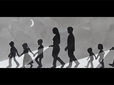 Parents Light The Way illustration bw family flat gray moon night ducks
