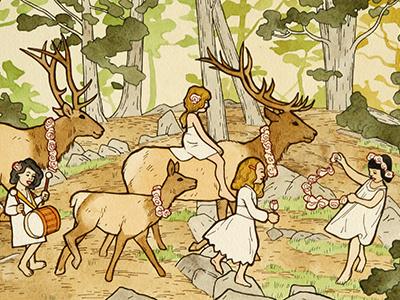 Elk Parade illustration drawing painting children nature landscape elk